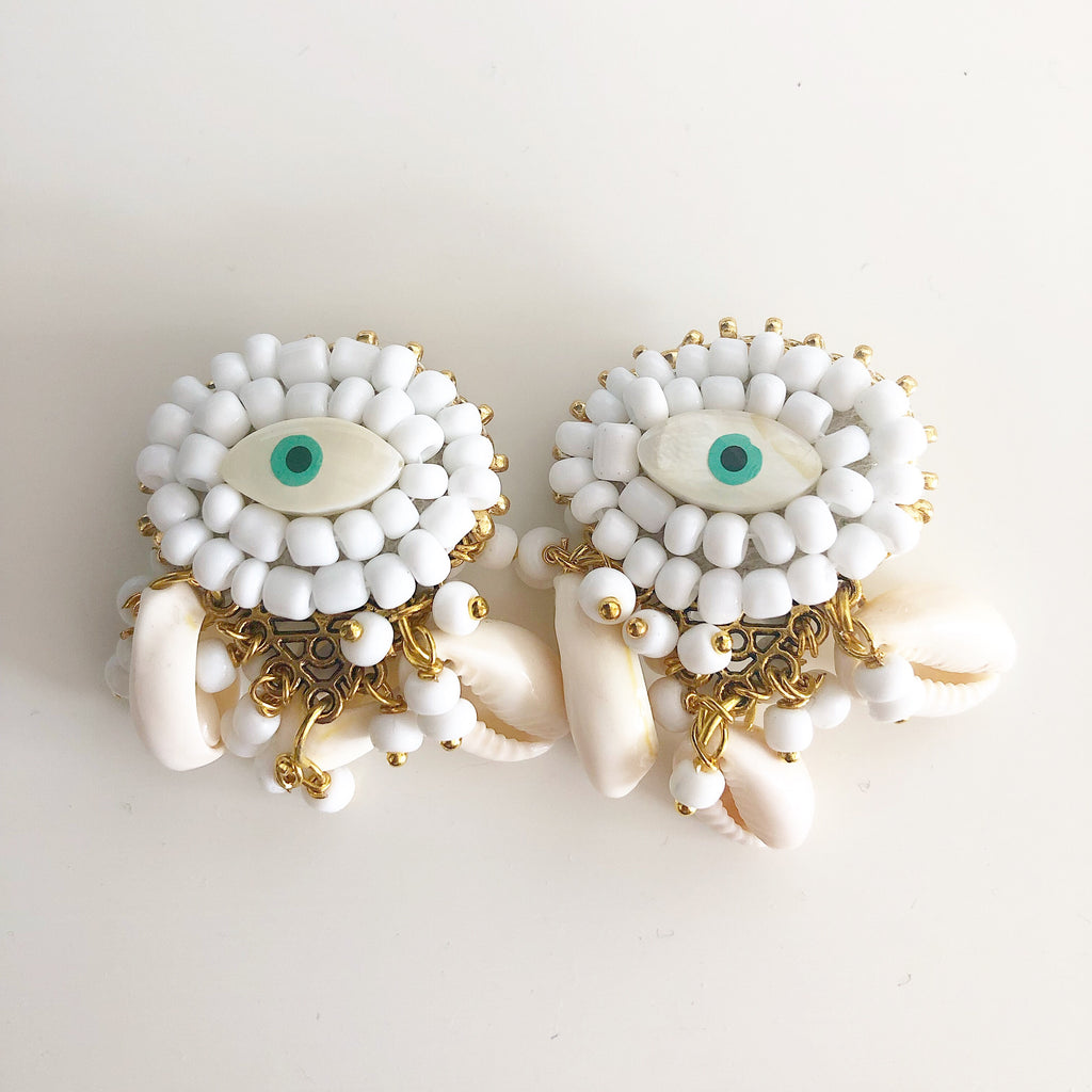 rock + bone handmade statement earrings Mini Evil Eyes