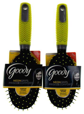 Lot 2 Goody Neon Soft Textured Grip Hairbrush Bright Yellow Gray Styling Brush - FUNsational Finds - 1