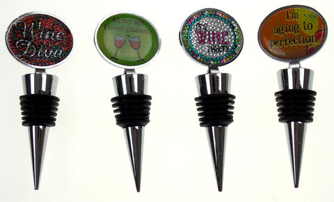 Wine Stopper Set of 4 Diva Thirty Aging To Perfection At My Age I Need Glasses - FUNsational Finds - 1