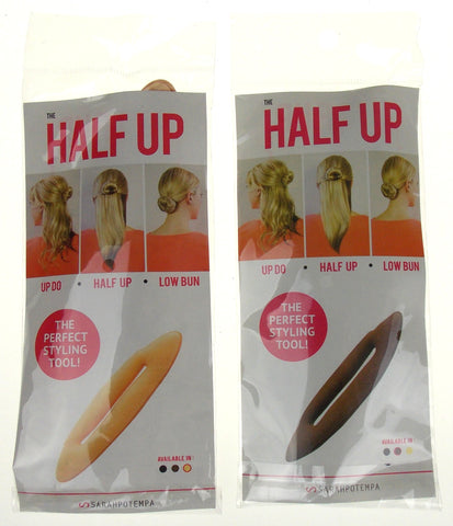 Sarah Potempa Half Up Hair Wrap Set 2 Perfect Styling Tool Beige Brown Up Do Lot