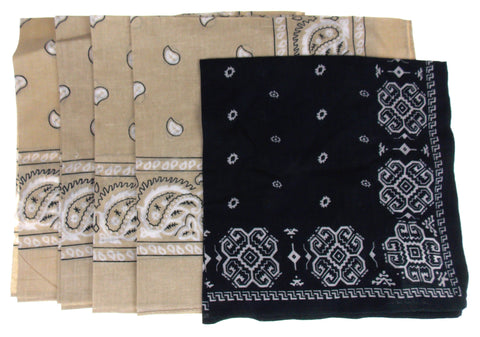 Urban Outfitters Bandanas Lot of 5 Beige Black Headwrap Handkerchief Neckerchief