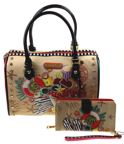 Nicole Lee NL Loves Hawaii Print Boston Handbag & Wallet Wristlet NLH11653 Purse - FUNsational Finds - 1