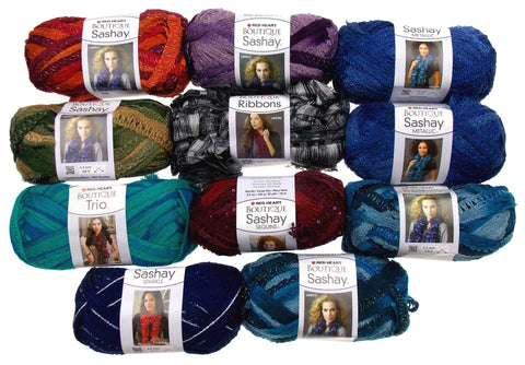 Lot of 11 Skeins Balls Yarn Red Heart Boutique Sashay Sparkle Trio Metallic Blue