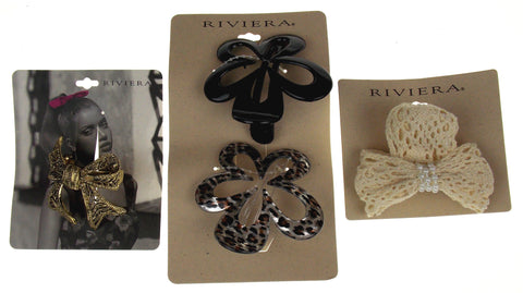 Riviera Clips Lot 4 Bow Flowers Animal Print Metal Fabric Hair Accessories Gold