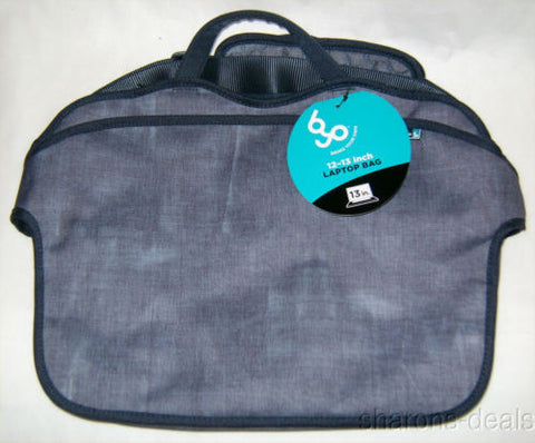 "BYO 12-13"" Neoprene Laptop Bag Bell Bottom Blue Padded Shoulder Strap Pockets - FUNsational Finds - 1"