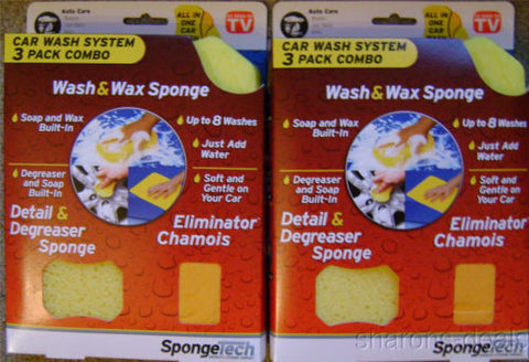 Lot 2 SpongeTech Car Wash System 3 Pack Combo Soap Wax Degreaser Chamois 8 Wash - FUNsational Finds - 1