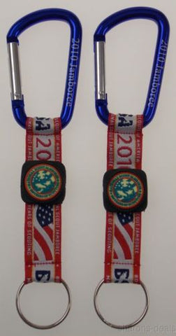 Lot 2 2010 BSA National Jamboree Carabiner Key Chain Boy Scout Fabric USA Flag - FUNsational Finds - 1