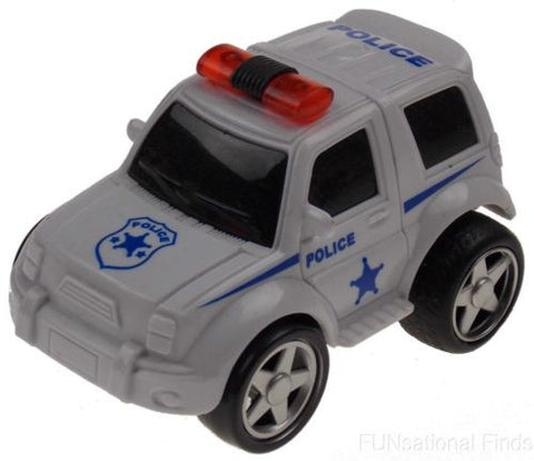 Lot 6 Police White 4WD Super Truck Jeep Pull Back Toy Car Party Favor Moves Runs - FUNsational Finds