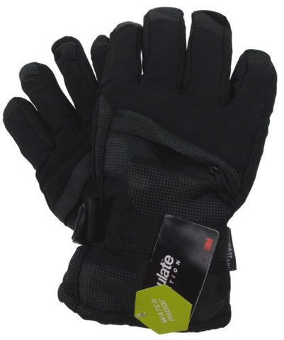 Athletech Mens Black Ski Gloves 3M Thinsulate Insulation Waterproof Pocket - FUNsational Finds - 1