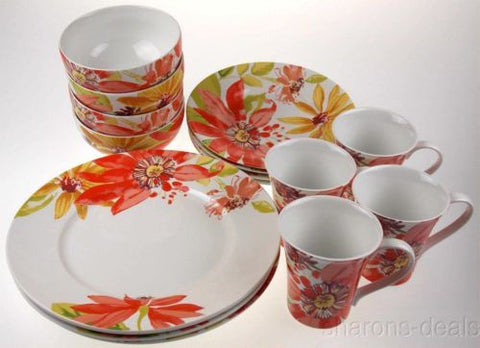 222 Fifth Porcelain Dinnerware Summer Daisies 16 Pc Set Dinner Salad Soup Mug - FUNsational Finds - 1