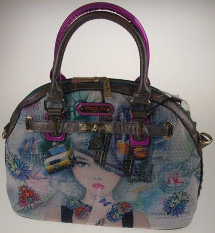 Nicole Lee New York Print Satchel Bag NY10329 Statue Liberty Taxi Handbag Purse - FUNsational Finds - 1