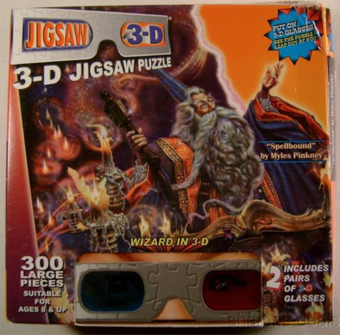Wizards 300 Piece 3D Glasses Jigsaw Puzzle TDC Puzzles Spellbound Myles Pinkney - FUNsational Finds - 1