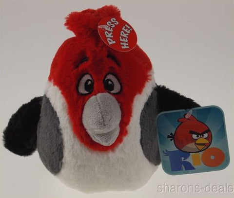 Angry Birds Rio Pedro Plush Bird Sounds Red White Gray Commonwealth Toys Stuffed - FUNsational Finds - 1