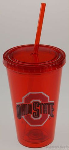 Ohio State University OSU 16oz Tumbler Travel Cup Lid Straw Red Licensed Product - FUNsational Finds - 1