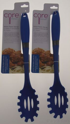 Set 2 Core Kitchen Nylon Pasta Server Azure Blue Soft Comfort Grip Slotted Tool - FUNsational Finds - 1