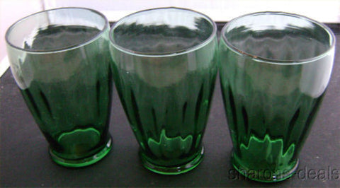 Set 3 Green Clear Vintage Drinking Water Beverage Glasses Barware Retro Lot - FUNsational Finds