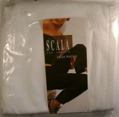SCALA White Calca Marisa Pants Seamless Casual Yoga Exercise Lounge Microfiber - FUNsational Finds - 1
