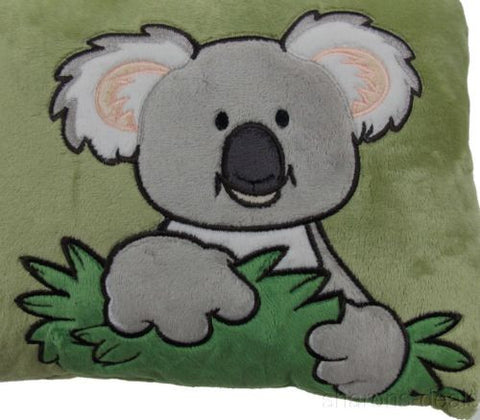 Koala Bear Throw Pillow NICI Wild Friends Adventure Green 16x9 Plush Embroidered - FUNsational Finds - 1