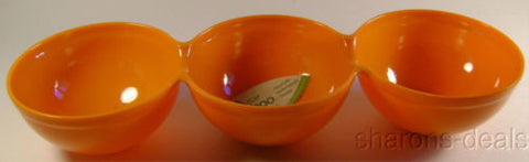 Orange Reduce Melaboo Triple Serving Bowl Bamboo Condiments Round Sections - FUNsational Finds