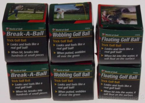 Lot 6 Trick Golf Balls Breaking Floating Wobbling World Novelty Gifts Gag Prank - FUNsational Finds - 1