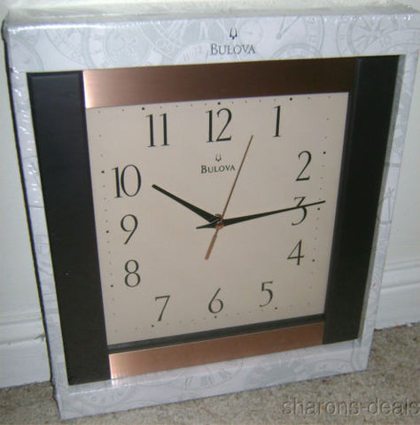 Bulova C4341 Clock Artisan Decorative Wall Collection Brown Wood Glass Rose Gold - FUNsational Finds