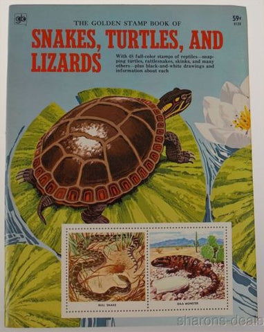 Golden Stamp Book Snakes Turtles Lizards Stickers 4th Printing 1973 Smith Irving - FUNsational Finds - 1