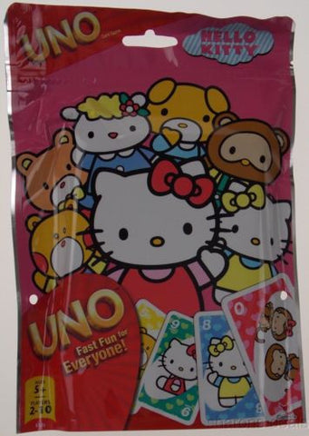 Hello Kitty UNO Family Playing Card Game 112 Custom Cards Resealable Bag Travel - FUNsational Finds - 1