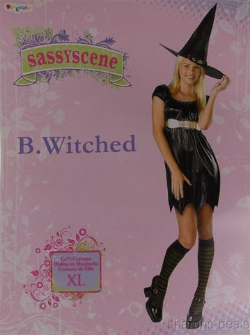 Disguise Sassyscene B Witched Girls Black Witch Costume Dress Belt Hat Purim - FUNsational Finds - 1