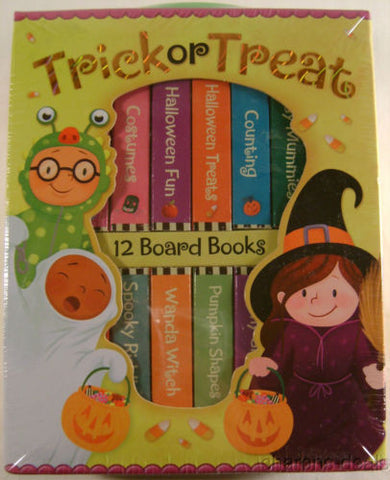 Trick or Treat 12 Mini Board Books Carry Case Shapes Riddles Counting Halloween - FUNsational Finds - 1