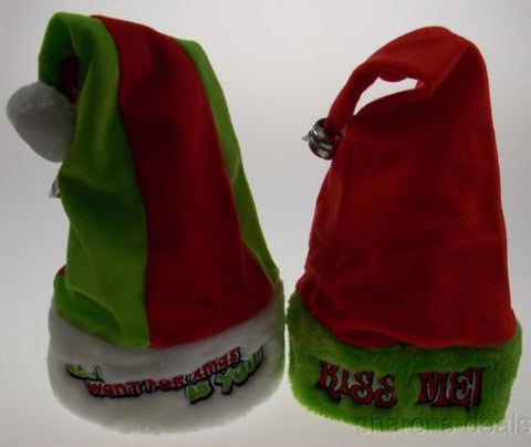 Set 2 Santa Hats Adult All I Want For Xmas Is You Kiss Me Bell Christmas Holiday - FUNsational Finds - 1