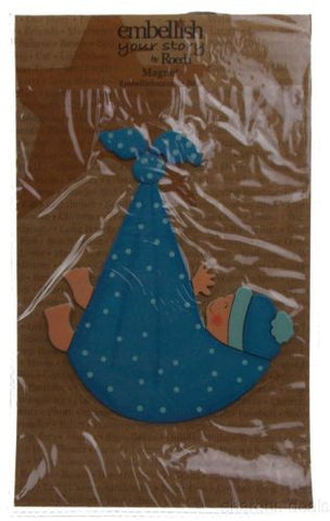 Lot 3 Embellish Your Story Roeda Magnet Blue Baby Boy Stork Bundle Hand Painted - FUNsational Finds - 1