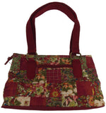 Donna Sharp Watercolor Patch Reese Purse Handbag Quilted Red Floral Adjustable - FUNsational Finds - 2