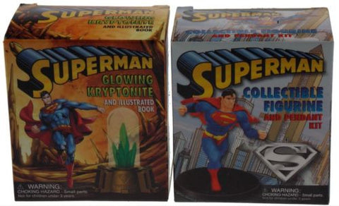 Superman Figurine Glowing Kryptonite Set 2 Replica Light Up DC Comic Pendant NEW - FUNsational Finds - 1