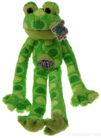 Peace and Love Frog Whatevs Green Spots Hanging Soft Plush Embroidered - FUNsational Finds - 1