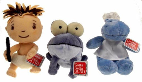 Lot 3 Gotta Get Gund Purple Frog Blue Hippo Chef Caveman Baby Plush Toy Bean Bag - FUNsational Finds - 1
