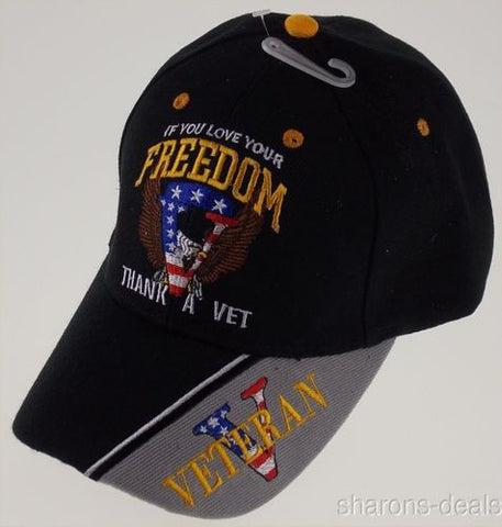 If You Love Your Freedom Thank Vet Veteran Military Baseball Cap Hat Embroidered - FUNsational Finds - 1