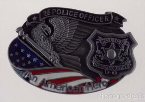 Police Officer Belt Buckle An American Hero Metal Badge Eagle USA Flag Color 3D - FUNsational Finds - 1