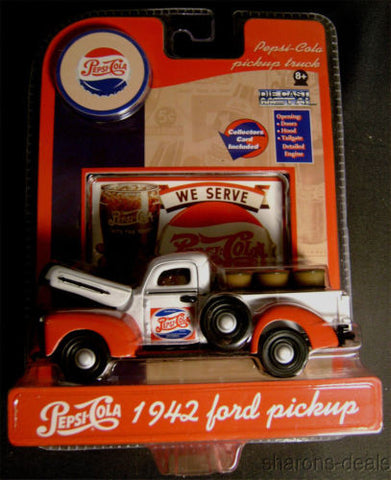 Pepsi Cola 1942 Ford Pickup Truck Die Cast Metal GearBox Toy Collectors Card NEW - FUNsational Finds