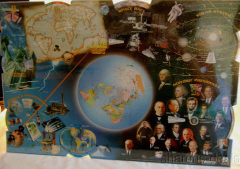 Lot 4 Knowledge Wheel Desk Pad Learning Mat Inventors Space Oceans Explorers - FUNsational Finds