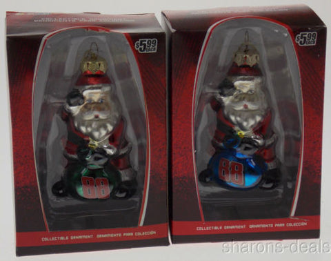 Dale Earnhardt Jr NASCAR Figurine Santa Glass Ornament Set 2 Blue Green Tree NEW - FUNsational Finds - 1