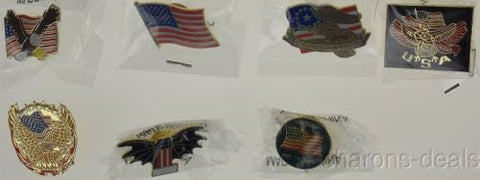 Set 7 USA American Flag Pins Collector Eagle Honor Bear Arms Dont Mess Patriotic - FUNsational Finds
