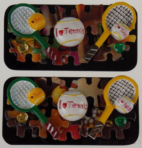 Set 2 I Love Tennis Theme Magnets Jigsaw Puzzle Pieces Racket Ball Handmade NEW - FUNsational Finds - 1