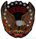 "Live to Ride Flying Screaming Eagle Patch Embroidered Motorcycle Jacket Bike 12"" - FUNsational Finds - 1"