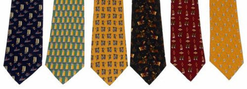 Lot 6 Olimpo 100% Silk Neckties Ancient Classic Dress Business Horse Geometric - FUNsational Finds - 1