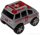 Lot 6 Ambulance White Red 4WD Truck Van Pull Back Car Toy Party Favor Runs Moves - FUNsational Finds - 2
