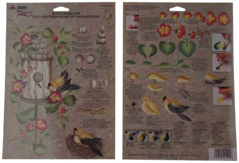 Lot 36 FolkArt One Stroke Reusable Teaching Guide Birdhouse Row Flowers 1140 - FUNsational Finds - 1