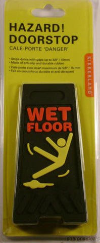 Lot of 2 Black Wet Floor Doorstop Rubber AntiSlip Hazard Danger Sign - FUNsational Finds