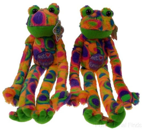 Lot 2 Peace Love Frog Best Friends Forever Hanging Soft Plush Embroidered - FUNsational Finds