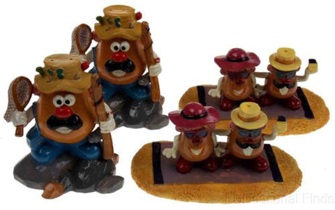 Lot 4 Top Fin Aquatic Fish Decoration Mr Potato Head Ornament Fishing Sunbathing - FUNsational Finds - 1