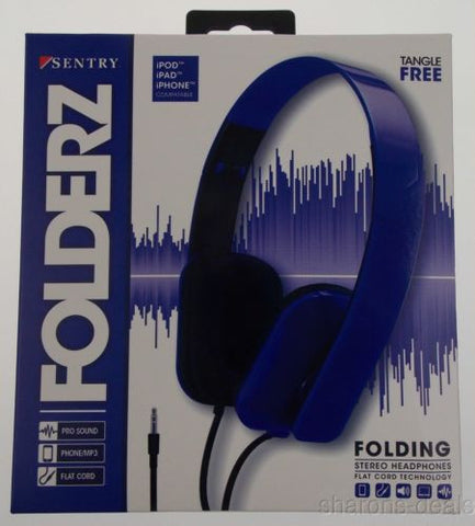 Sentry Folderz Folding Stereo Headphones Blue DLX20 Tangle Free Flat Cord 3.5 mm - FUNsational Finds - 1